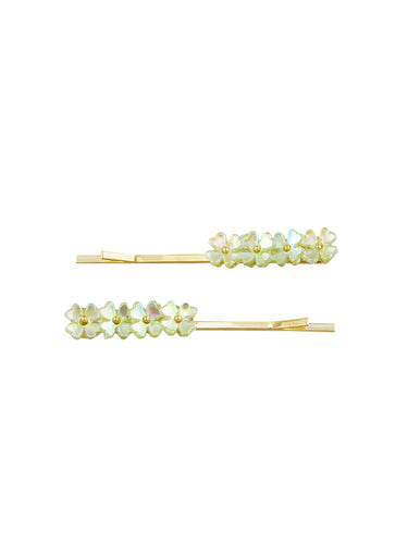 Green Flower Hair Pins