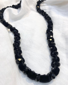 Black Velvet and Crystal Necklace
