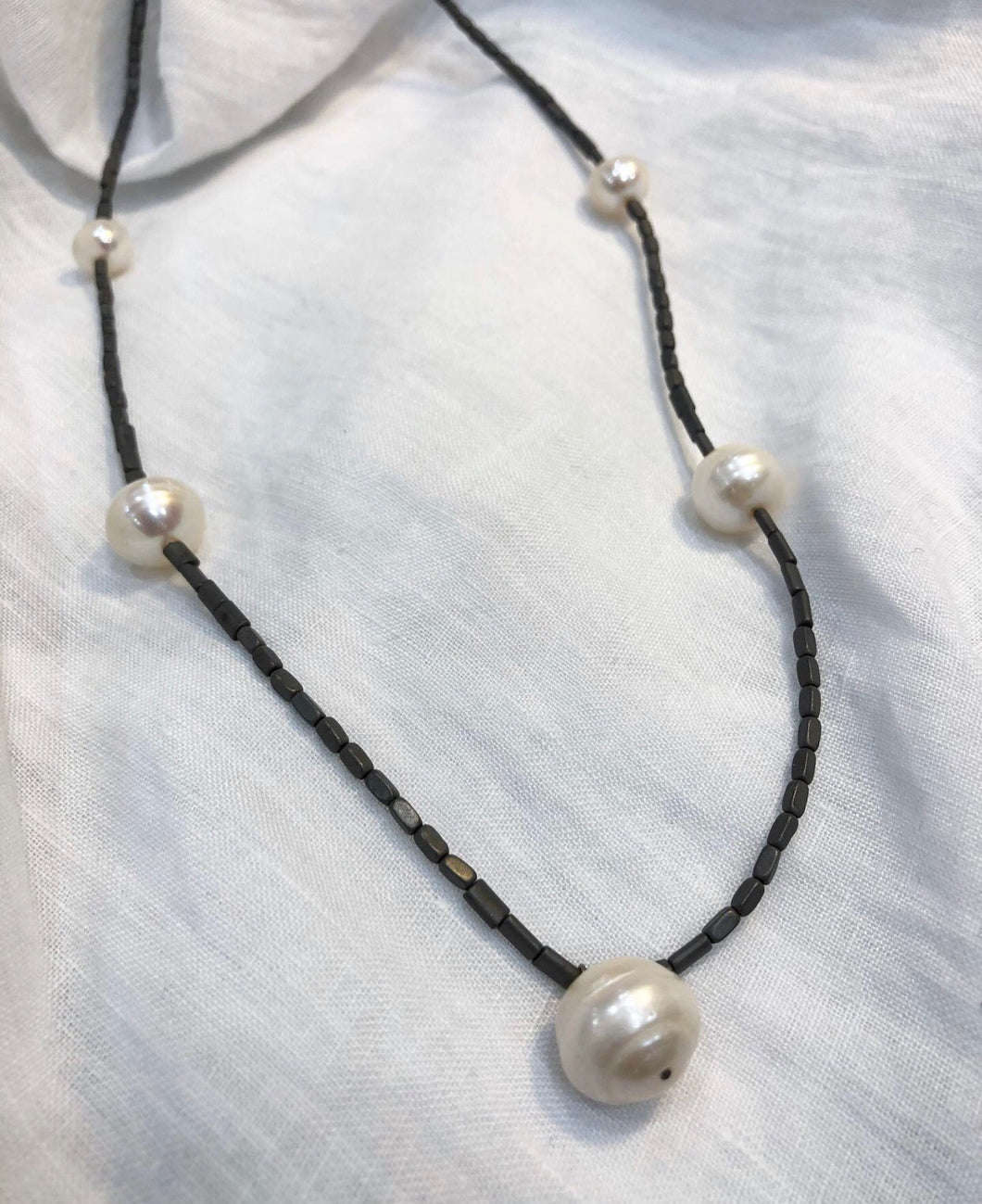 Pearl and Titanium Short Necklace