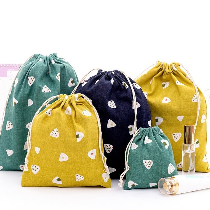 Portable Eco Reusable Linen Drawstring Bag