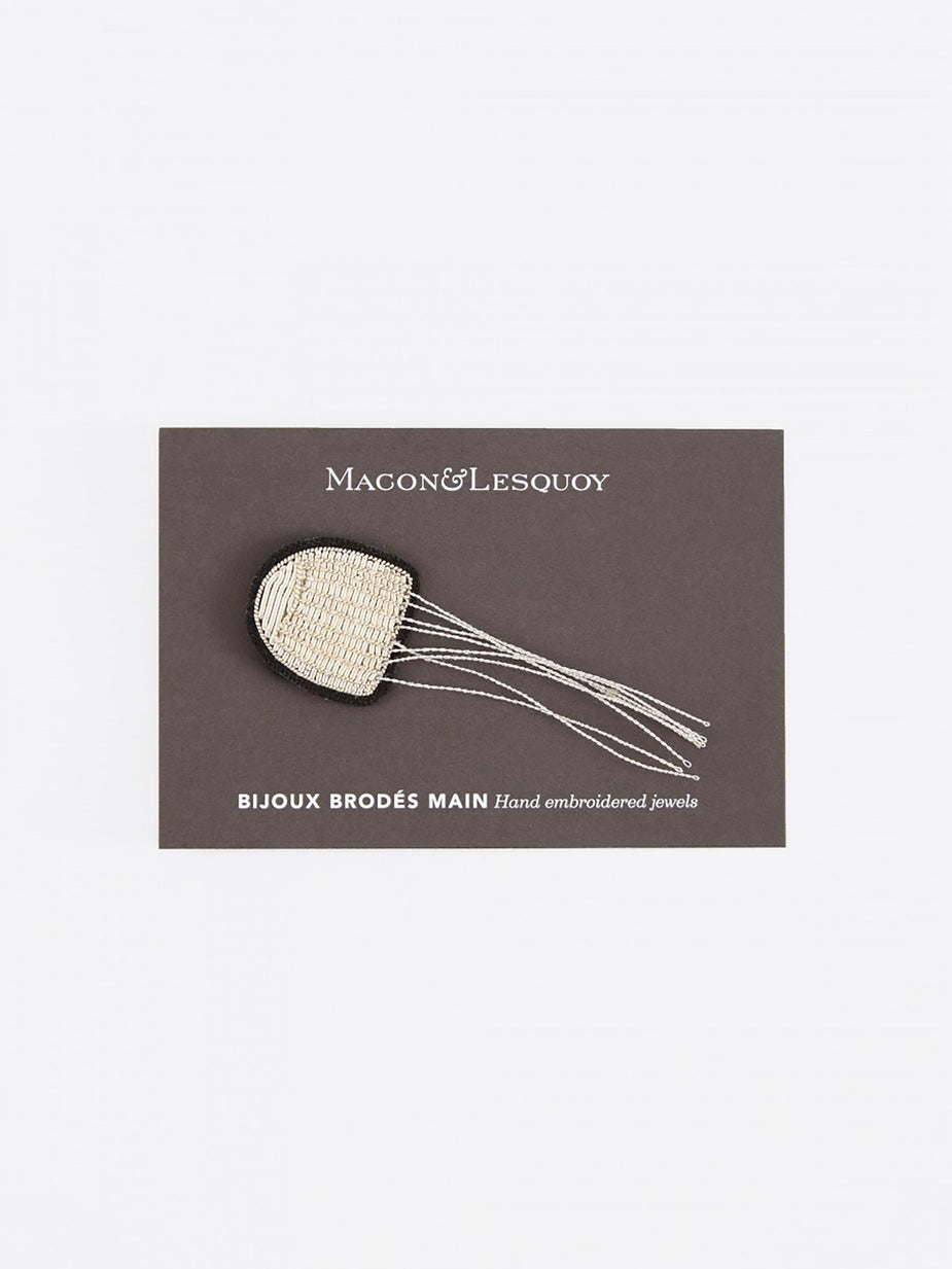 Macon & Lesquoy Macon & Lesquoy Small Jellyfish Embroidered Pin - Black