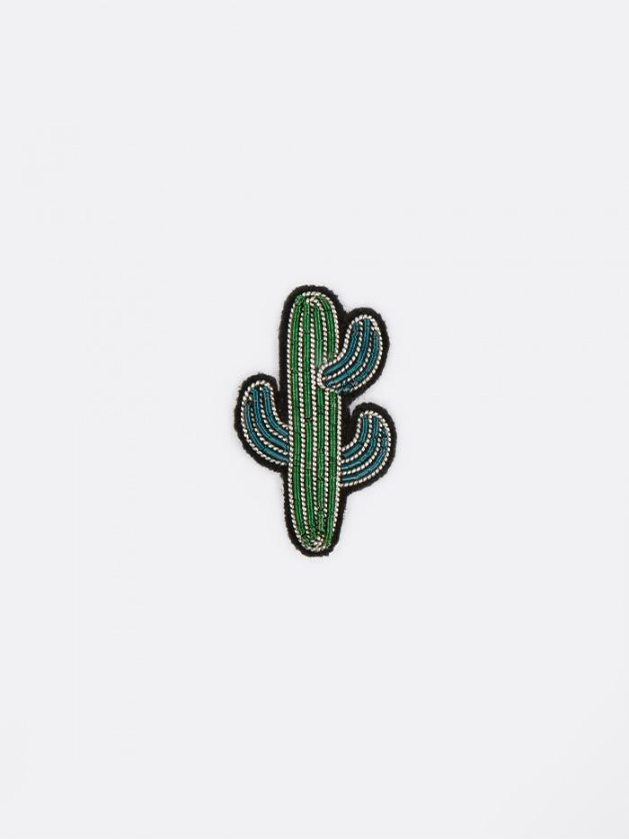 Macon & Lesquoy Macon & Lesquoy Small Cactus Embroidered Pin - Green