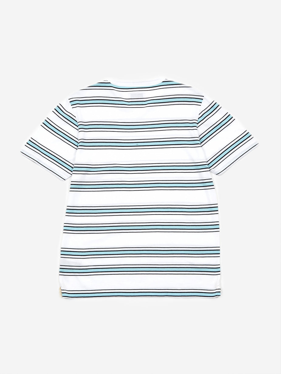 Albam Albam Heritage Stripe Shortsleeve T-Shirt - White/Light Blue/Navy - Blue