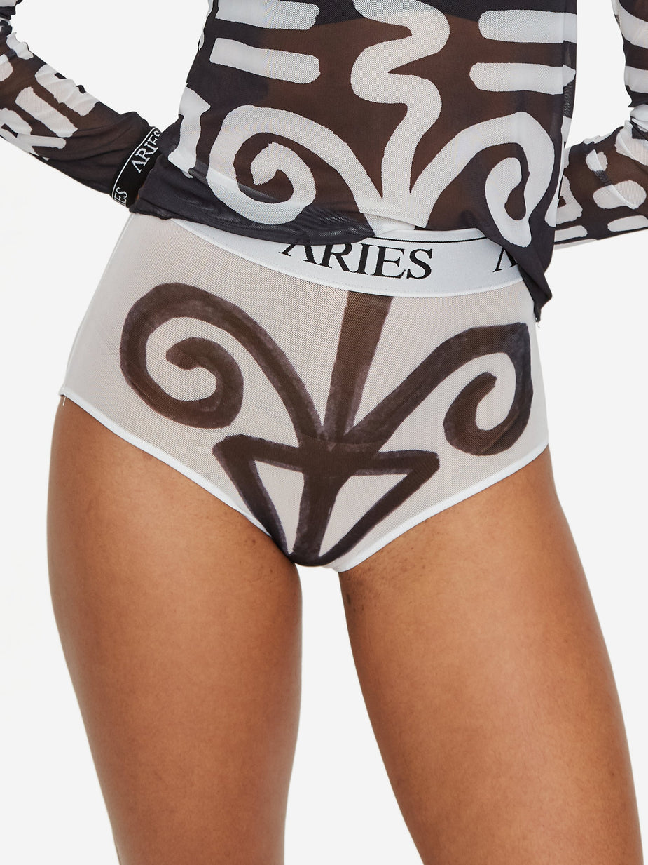 Aries Aries Bodypaint Mesh High Waisted Brief - White - White