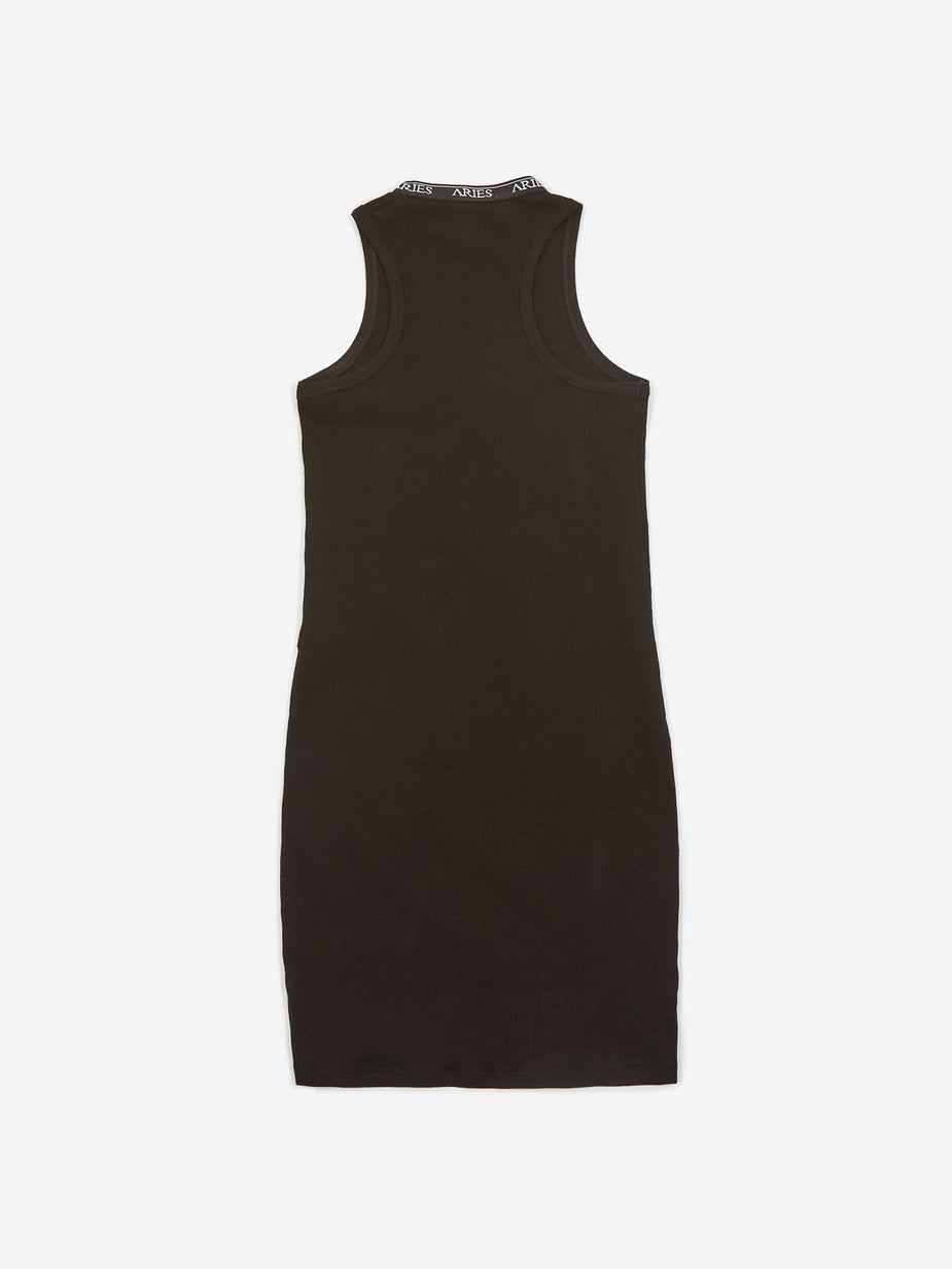 Aries Aries Keyhole Ribbed Dress - Black - Black