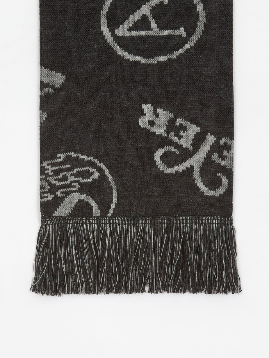 Aries Aries Monogram Scarf - Black/Grey - Black