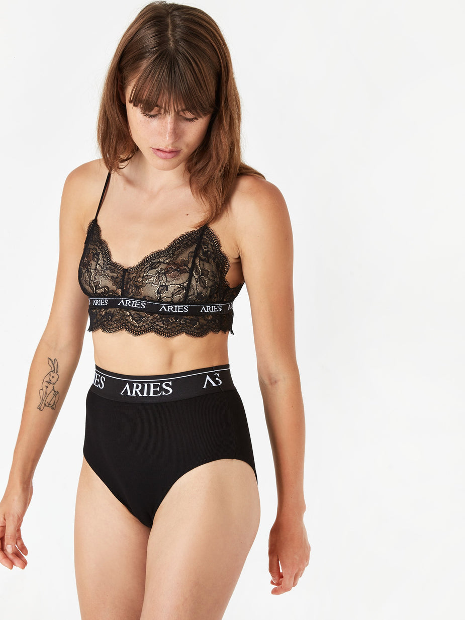 Aries Aries Rib High Waist Brief - Black/Black - Black