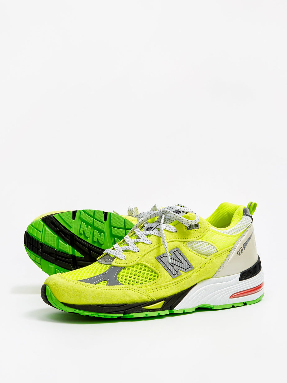 Aries Aries x New Balance 991 - Neon Yellow/Silver - Yellow
