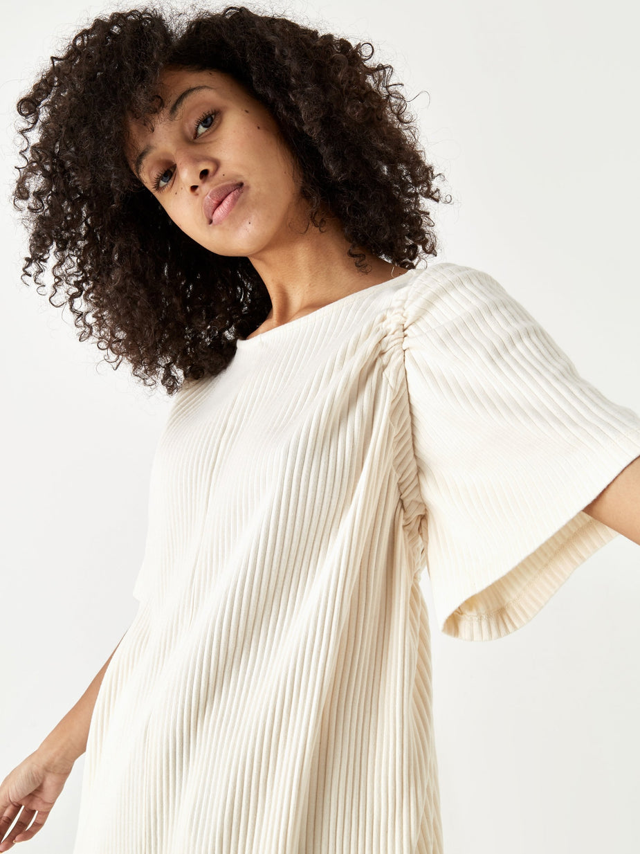 Baserange Baserange Honda Rib Fleece Dress - Off White - White