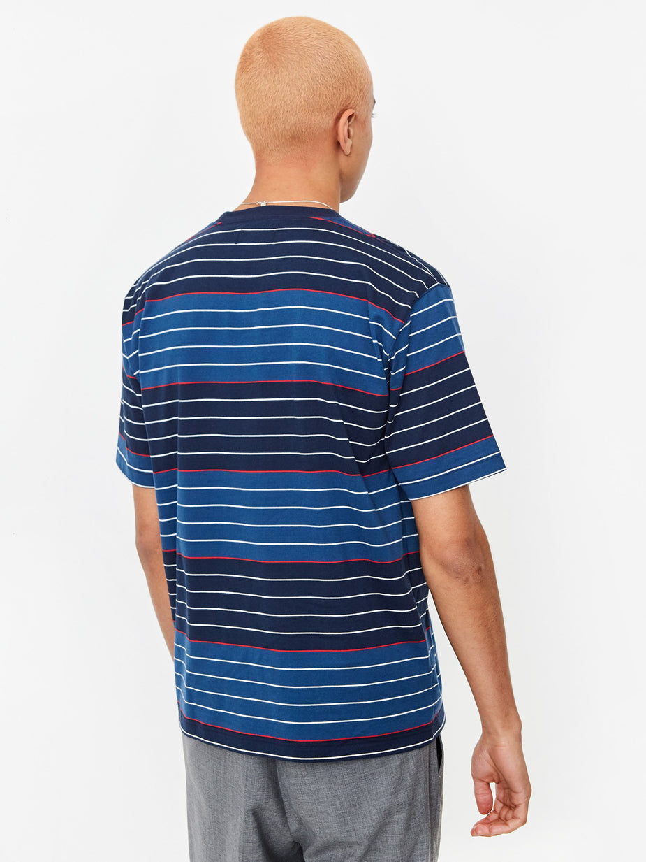 Beams Plus Beams Plus Pocket 40/2 Multi Border T-Shirt - Navy - Blue