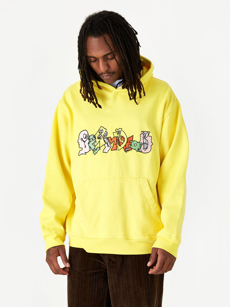 Brain Dead Brain Dead Embroidered Graffiti Hoodie - Light Yellow - Yellow