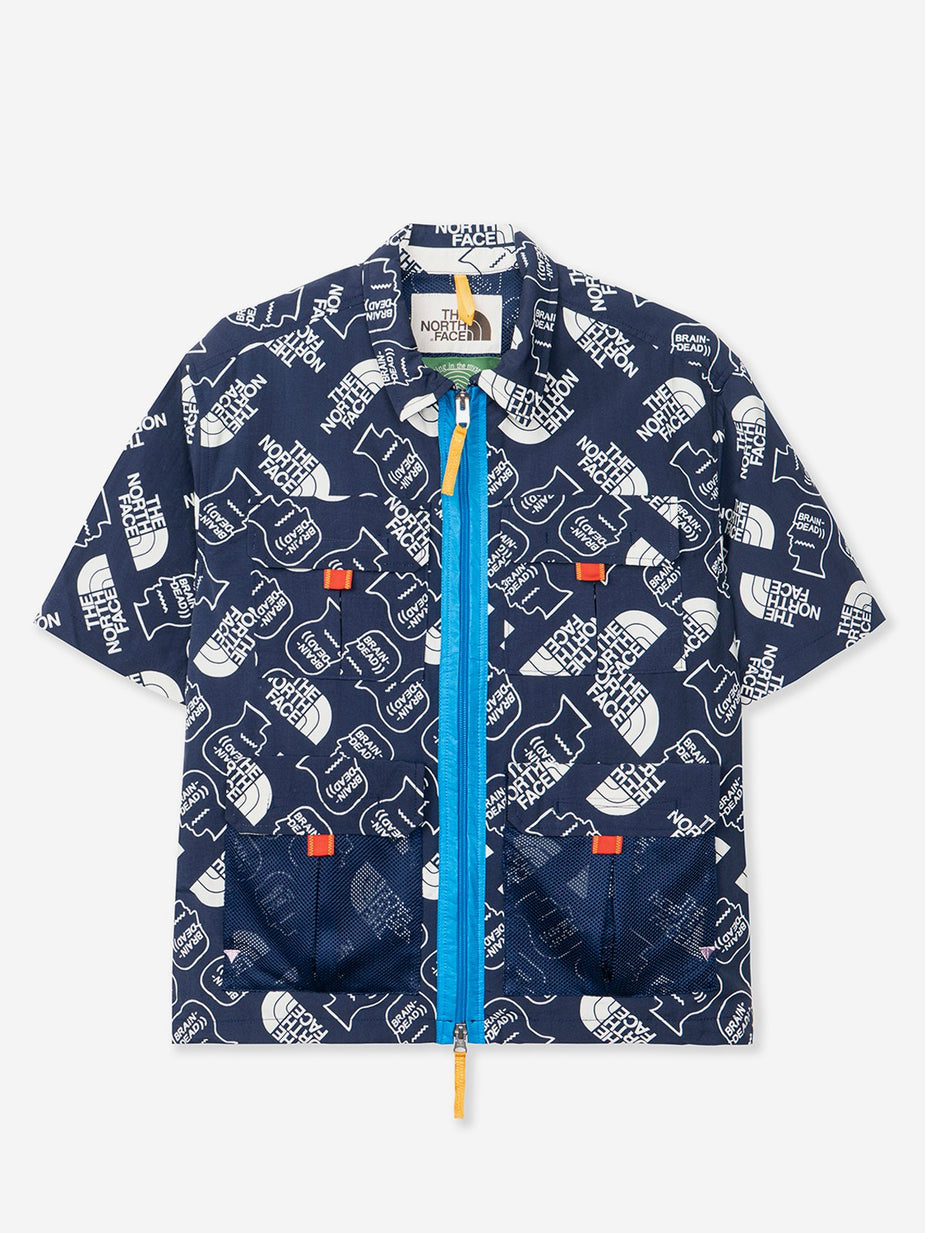 Brain Dead Brain Dead x The North Face Boxy Mountain Shortsleeve Shirt - TNF Navy/Vintage White - Navy