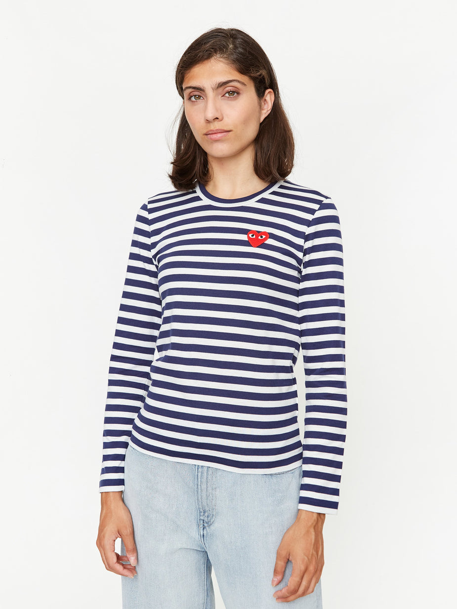 Comme Des Garcons Play Comme Des Garcons Play Striped Red Heart T-Shirt - Navy/White - Navy