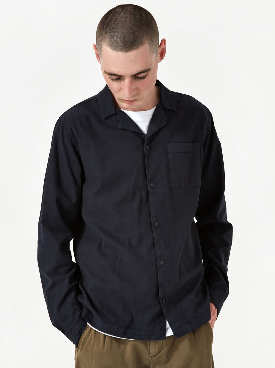 Folk Folk Longsleeve Soft Collar Shirt - Washed Navy - Blue