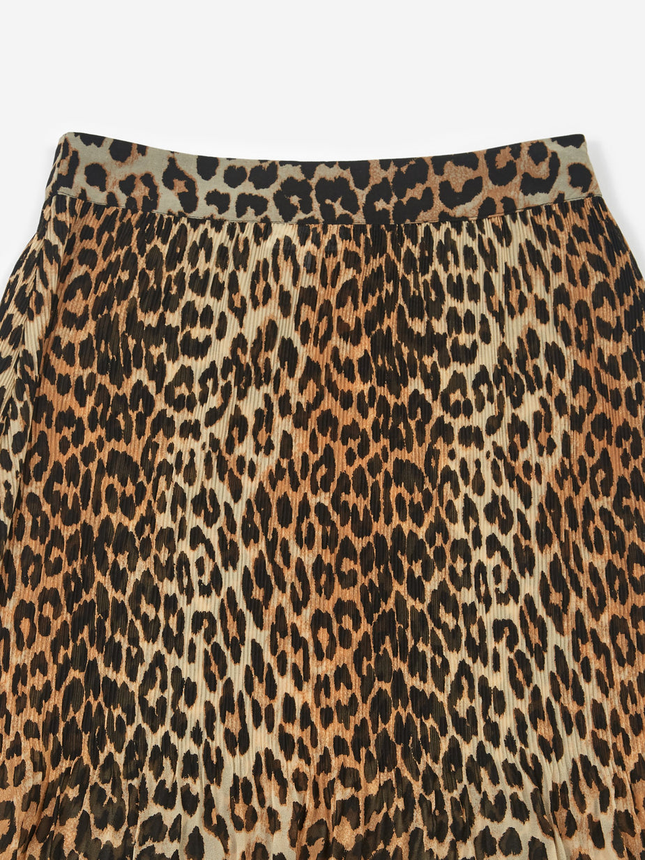 Ganni Ganni Pleated Georgette Skirt - Leopard - Animal Print