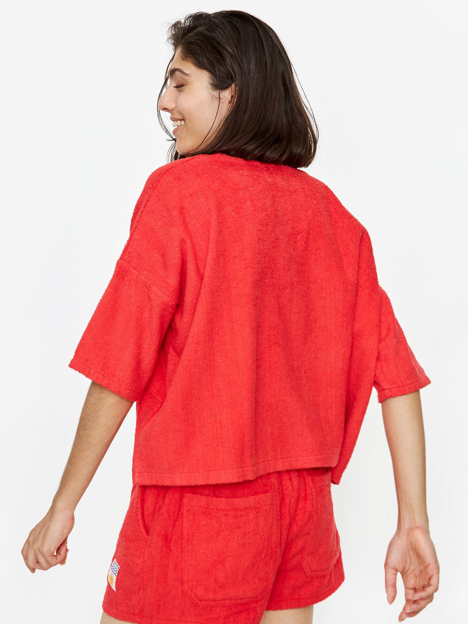LF Markey LF Markey Basic Towelling Top - Red - Red