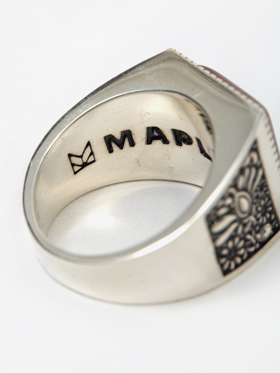 Maple Maple Buck Ring - Silver/Red Garnet - Red