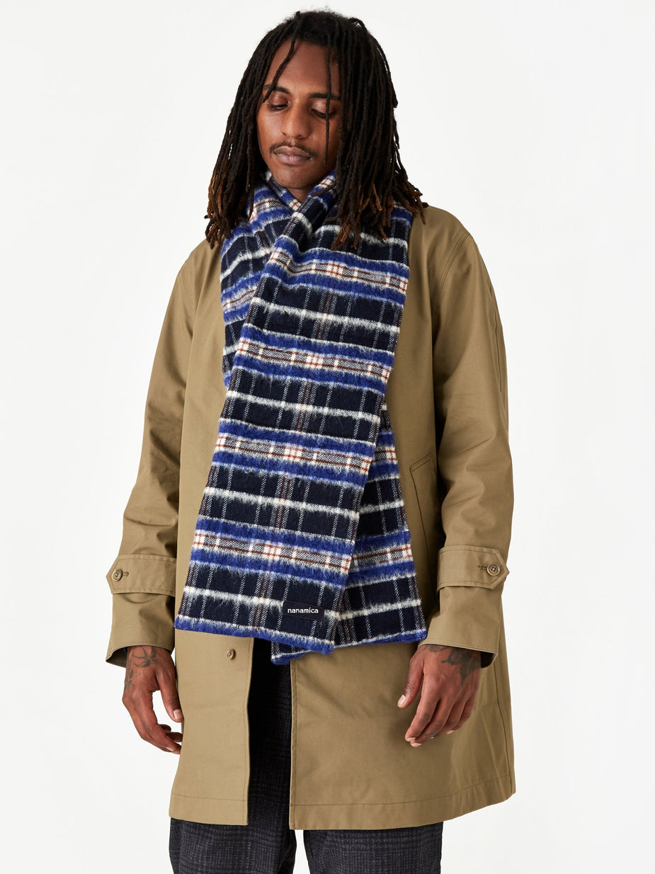 Nanamica Nanamica Wool Check Down Muffler - Navy - Blue