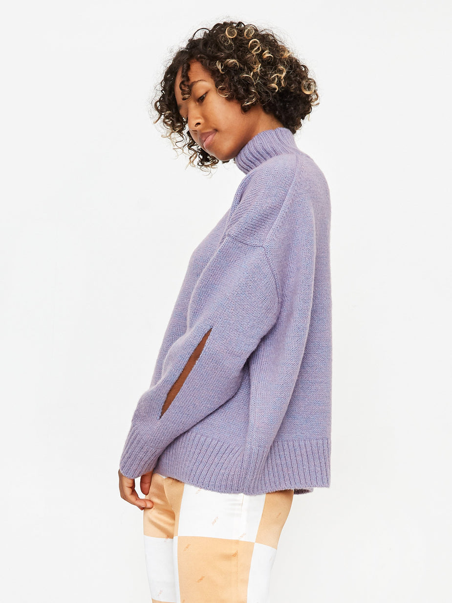 Neul Neul Fontana Slit Turtleneck Sweater - Easter Egg - Blue
