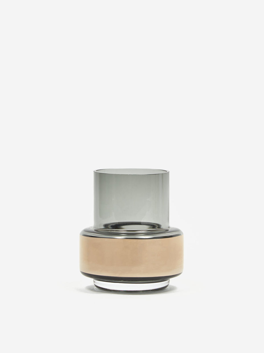 Ro Collection Ro Collection Hurricane Tealight No.25 - Smoked Grey and Platinum - Grey