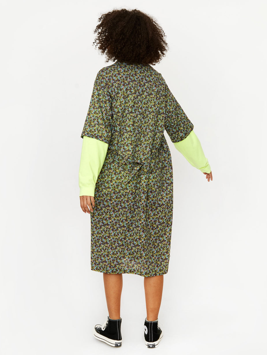 Stand Alone Stand Alone Oversized Print Shirt Dress - Green - Green