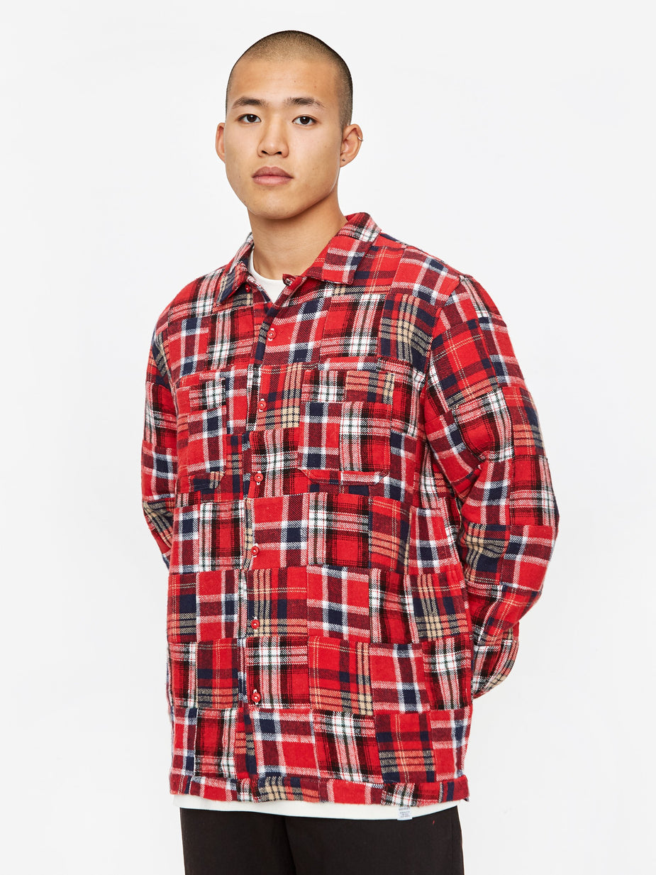 Universal Works Universal Works Garage Longsleeve Shirt II - Patchwork Red - Red