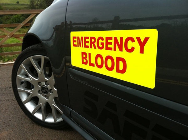Emergency Blood Magnet with Day Glo Background (MG051)