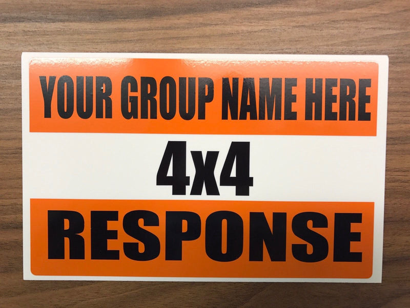 Magnet 4x4 Response logo with Your Group Name 300mm x 100mm