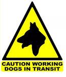 Sticker Triangle Caution Working Dog in Transit - 100mm - Reflective