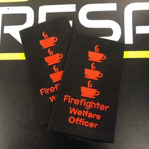 Epaulettes - Firefighter Welfare Officer - Black - Pair - Funny Gift
