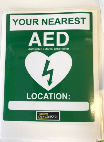 AED Defib Nearest Location Sticker - External