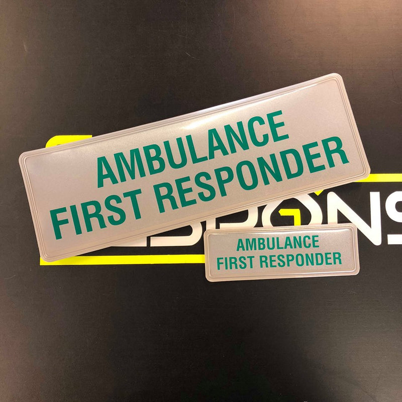 Reflective Badge - AMBULANCE FIRST RESPONDER - 300 Style 2 Set