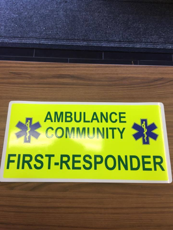 Magnet Ambulance Community First Responder Magnet with Day Glo Background (MG059)