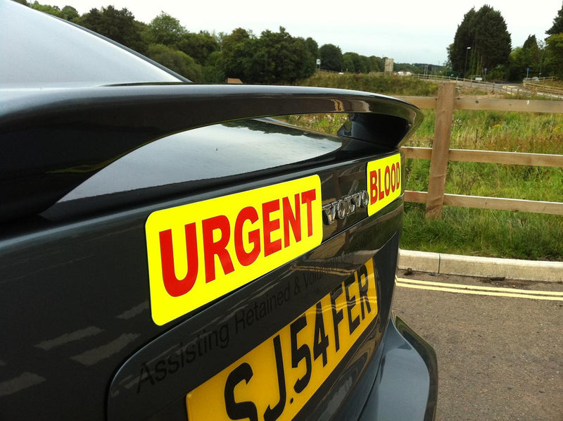 Urgent Blood 2 piece With Day Glo Background 280mm x 100mm (MG052)