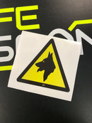 Sticker - Warning Dogs on Board Logo - Triangle Decal 200mm