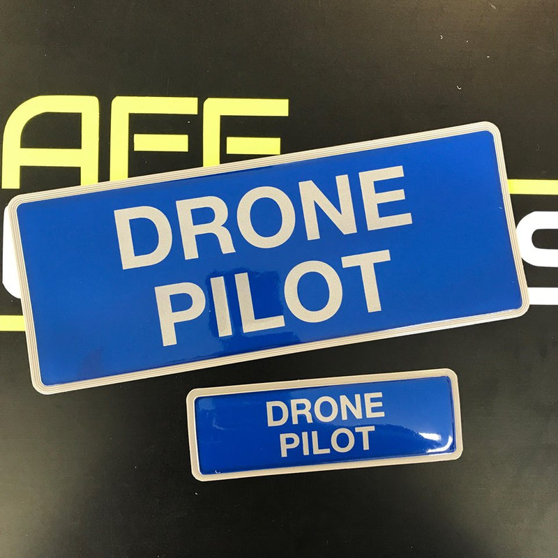 Reflective Badge - Drone Pilot - Front & Rear Set 250mm