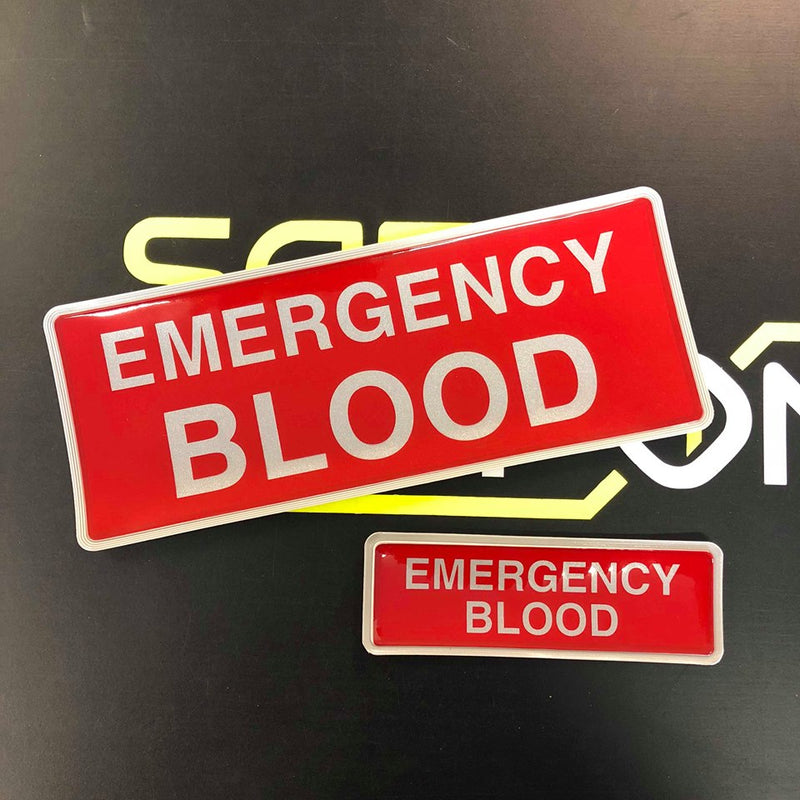 Reflective Badge - EMERGENCY BLOOD Red 250 Set