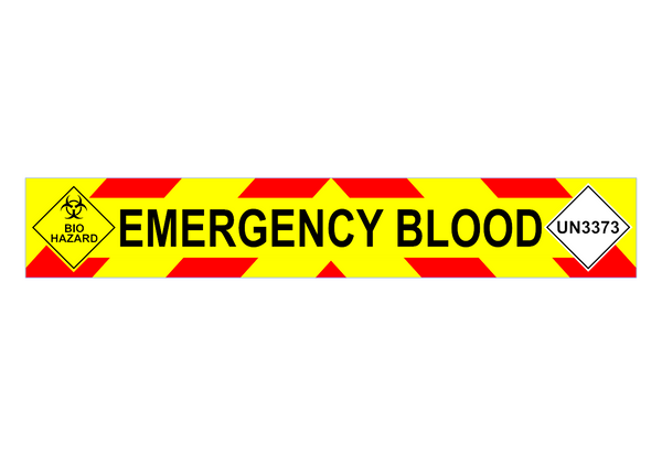 EMERGENCY BLOOD + UN3373 + Bio Hazard Chevron Design