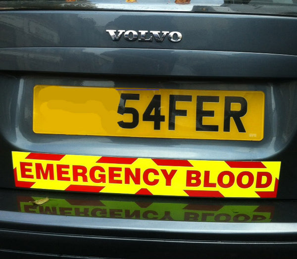 Emergency Blood Magnet with Day Glo Background and Chevron Styling (MG050)