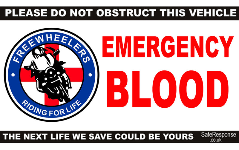 Dash Card - Emergency Blood Freewheelers - card