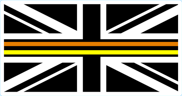 Sticker Union Jack thin Orange, Black and Yellow line - Highways Agency
