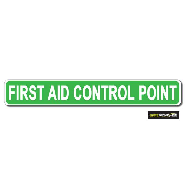 Magnet FIRST AID CONTROL POINT Green with White Text (MG170)