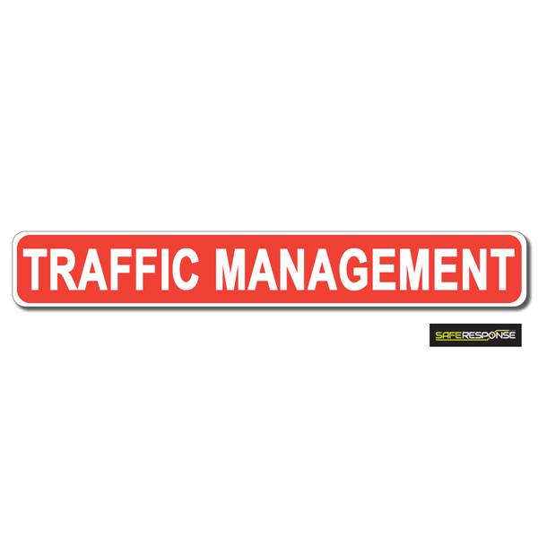 Magnet TRAFFIC MANAGEMENT Red with White Text (MG198)