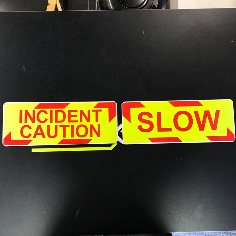 Magnet Incident - Caution / Slow x 2 Piece Chevron Design 260mm (MG002)