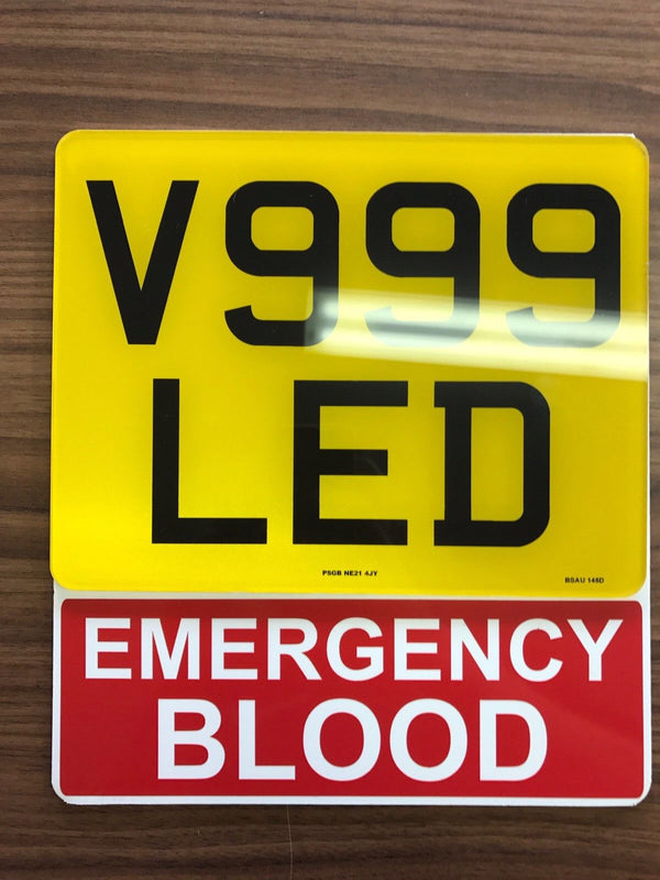 Motorcycle Number Plate Extension - EMERGENCY BLOOD