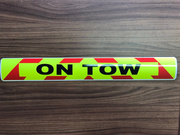 Sticker - ON TOW - 610mm - Dayglo / Red