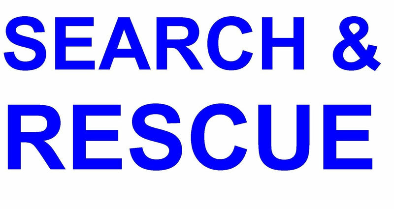 Sticker - SEARCH & RESCUE Text Only Decals 80mm