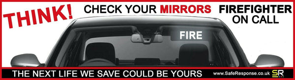 247mm Sticker - Think Check Your Mirrors - Firefighter - ST24575