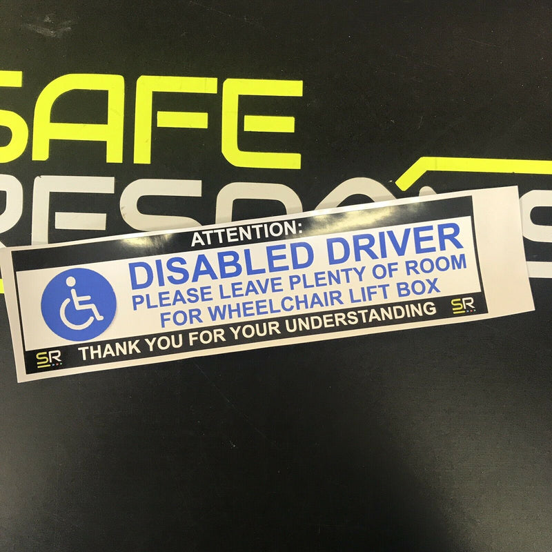 245mm Sticker - Disabled Driver Leave Room for Wheelchair - White - ST24576
