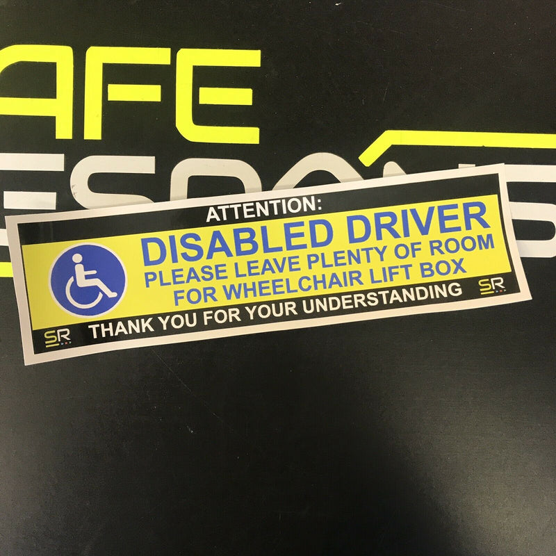 245mm Sticker - Disabled Driver Leave Room for Wheelchair - Yellow - ST24577